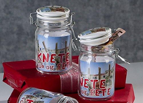 Sparpack 2 x Geschenkglas Knete für die Fete mit Keramik-Deckel - Geldgeschenk, Geschenkglas zum Befüllen