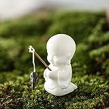WEIZI Estatuas de Acuario para peceras Manualidades Hombre de Pesca Paisaje decoración del hogar Regalos para estantería Oficina café pequeñas Figuras de cerámica esmaltadas Adornos blan