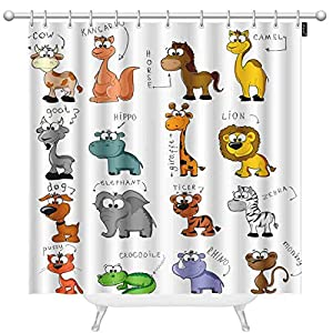 oFloral Cartoon Animals Shower Curtains for Bathroom Cute Giraffe, Cow, Hippo, Dog, Elephant, Lion, Crocodile Polyester Waterproof Shower Curtain with Hooks 72 x 72 Inch