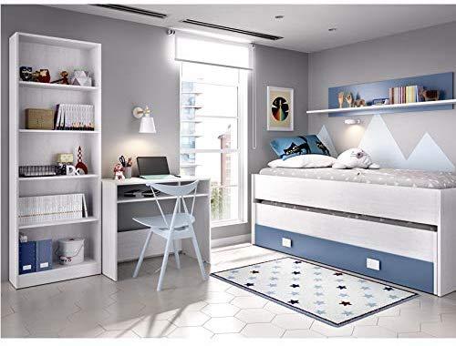 HABITMOBEL Dormitorio Juvenil Completo Cama Nido 2 cajones + Estante + estantería 6 baldas + Mesa Escritorio COLCHONES Y SOMIERES INCLUIDOS
