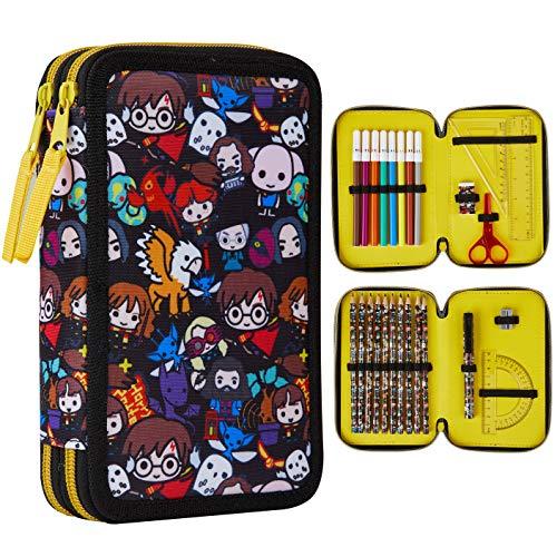 Harry Potter Pencil Case, Filled Pencil Cases School Supplies, Coloured Pencils Pencil Sharpener Colouring Pens Ruler Eraser Pen, Harry Potter Gifts
