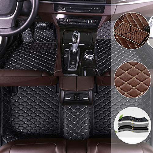 Car Floor Mat for Cadillac Escalade Hybrid Platinum 2013 All Full Coverage Liner All Weather Waterpoof Non-Slip Leather Heavy Duty Custom Front Rear Mat Left Drive Black and Beige