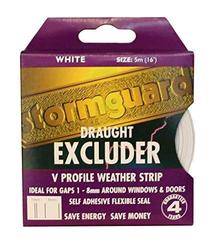 V-Seal 5M Draught excluder Weather Proofing Seal self Adhesive Gap Filler Stormguard (White)