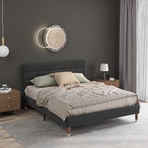 Soayone Cama de matrimonio tapizada con canapé y somier, 140 x 200 cm, con cabecero, en color gris oscuro, para adultos y jóvenes (colchón no incluido)