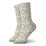 Calcetines suaves de media pantorrilla, diseño repetitivo simple con temática de alimentos con brócoli y tomates, calcetines para mujeres y hombres mejores para correr