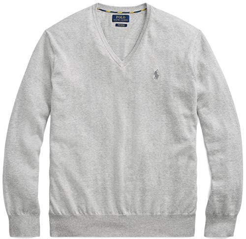 Polo Ralph Lauren Mens Pima Cotton V-Neck Sweater BasicGrey, M