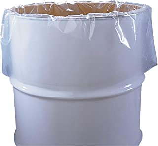 APQ Pack of 50 Clear Drum Liners on Roll 38 x 63. Cylindrical Shaped Liners 38x63. Thickness 3 mil. 55 Gallon Low Density Polyethylene Bags for Open Head, Steel or Plastic Drums. Leak Resistant.