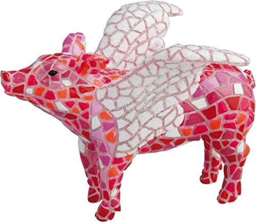 Laure TERRIER Statua di Maiale, Modello con Ali, in Mosaico Barcino, Lunghezza 10 cm, Dipinto a Mano. per Collezione o Decorazione