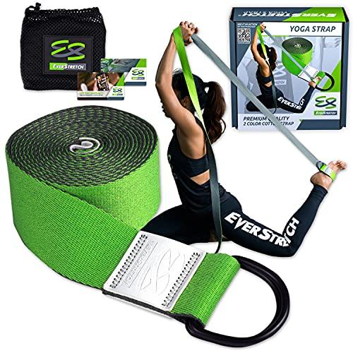 EverStretch Sangle Yoga pour étirement Qualité supérieure 8ft. Ceinture à Anneau en D réglable pour Le Yoga, Le Pilates, Le Fitness et la kinésithérapie.
