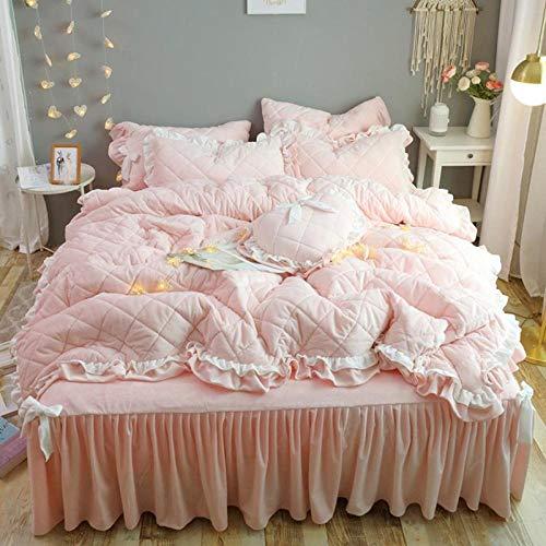 RESUXI teddy fleece bedding superking,Winter coral fleece bed skirt thick double-sided fleece sheet duvet cover four-piece set-J_2.0m bed 4 pieces