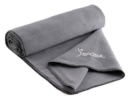 "Spoga Microfiber Super Absorbent Anti-Slip Yoga Towel, Grey, 24"" X 72"""