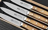 Steakchamp X30Cr13 - Juego de cuchillos de carne (4 unidades, mango de madera de acacia, acero inoxidable)