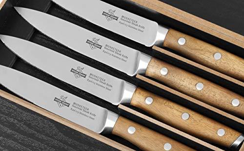 Steakchamp Steakmesser 4 Musketeer mit Holzgriff (Akazie), 4er Set, X30Cr13 rostfreier Küchenstahl