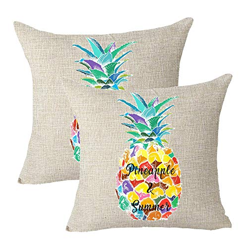 "onech Pineapple and Summer Yellow Green Blue Watercolor Tropical Fruits Set of 2 Sister Gift Best Gift Square Pillowcase Cushion Cover Pillow Cover Cotton Linen Pillow Case 18""X 18"" for Family (D)"