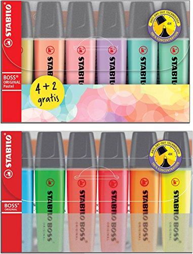 6 Stabilo Boss Original y 6 Stabilo Boss Pastel