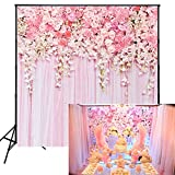 Muzi Pink Flowers Wall Photography Backdrops Rose Floral Spring Photo Background Baby Shower Wedding Studio Photographers Dessert Table Decor Booth Art Fabric Props 5x5ft D-9354