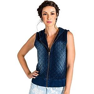 Modern Women's Quilted Denim Vest with Hoodie Medium Blue Wash