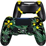 HexGaming Esports Edge Customized Controller for PS4 Elite Controller with 4 Paddles & Interchangeable Thumbsticks & Hair Trigger PC Wireless Gaming Gampad - Weeds