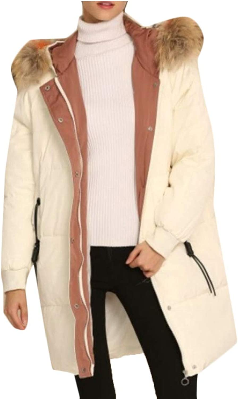 Desolateness Women's Faux Fur Hood Down Parka Puffer Jacket Winter Down Coats