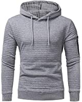 lexiart Mens Athletic Hoodies Pullover Fashion Solid Pocket Sweatshirt with Zipper Light Grey 4XL