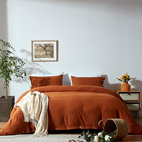 NexHome Duvet Cover Sets Queen Size Rust/Burnt Orange Double Brushed Microfiber Button Closure & Corner Ties-Breathable and Soft-3pcs