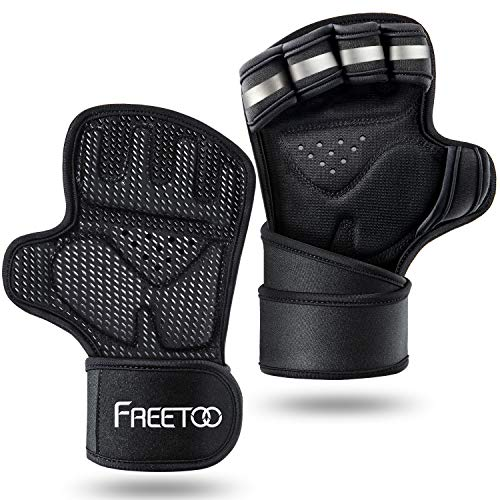 FREETOO Fitness Handschuhe Atmungsaktive rutschfeste Trainingshandschuhe Gewichtheben Handschuhe mit Handgelenkstütze und Palm Schutz, zum Klimmzug Cross Training und Kraftsport für Herren und Damen
