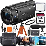Sony FDR-AX53 4K Ultra HD Video Recording Handycam Camcorder + Vlogging Bundle Including Video Light, 32GB Memory, Microphone, Camcorder Case, Editing Software Kit & More