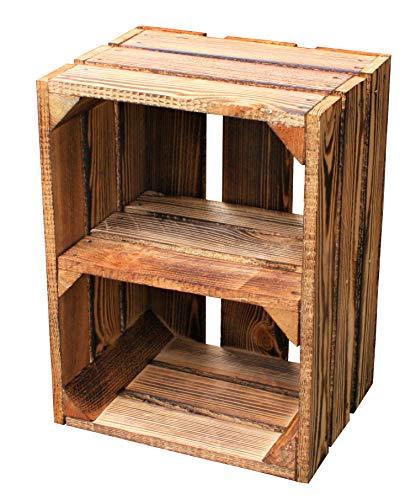 MigiEinkauf 1 Stück Neue Holzkisten Obstkisten Apfelkisten Weinkiste 40x30x23,5 cm TOP (Geflammte Regaleinlage zur kürzeren Seite)