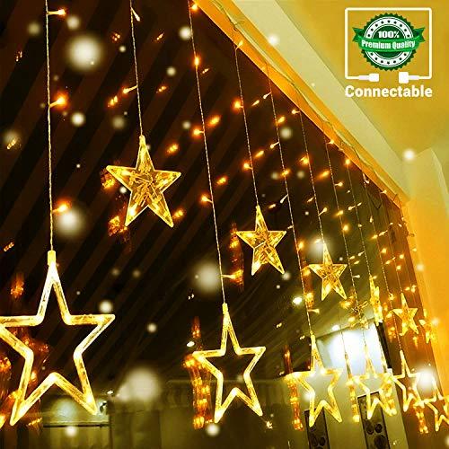 12 Étoiles Rideau Lumière 138 LED CONNECTABLE 14 MAX Quntis Guirlande Lumineuse Décoration Chambre Murale Intérieure Noël Mariage Fête pour Fenêtre Jardin Anniversaire 2M Blanc Chaud 8 Mode Éclairage