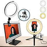 10' Ring Light MACTREM LED Light Ring with Tripod, Clamp & Phone Holder for YouTube Video, Makeup, Selfie, Photography, Live Streaming, Tiktok, 3 Light Modes & 10 Brightness Level (White+Yellow)
