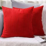 LHKIS Throw Pillow Covers 20x20, Oriental Red Decorative Corduroy Farmhouse Cushion Covers Pillowcase for Couch Sofa Bedroom Car, Set of 2