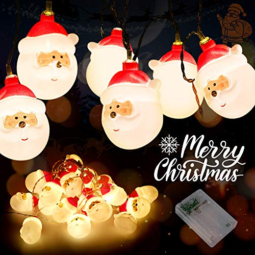Christmas Santa String Lights, Battery Operated Decorations Lights for Xmas, 10ft Warm White Fairy Lights for Christmas Tree Indoor Outdoor Party Wedding New Year Décor (Santa)