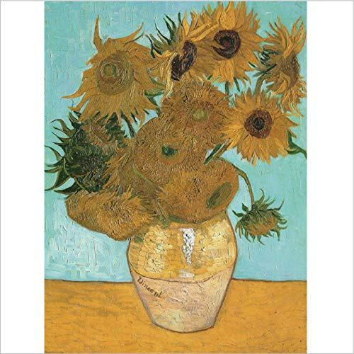 Digitale olieverfschilderij diy handgeschilderde zonnebloem woonkamer veranda decoratief schilderen olieverfschilderij aangepaste fotolijst opknoping foto-Frameloos_15,7 x 19,7 inch (40 x 50 cm)