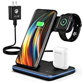 Wireless Charging Station, 2020 Upgraded Saferell 3 in 1 Wireless Charger Stand with Breathing Indicator Compatible with iPhone 11 Pro/XS/XR/8, Samsung, Watch 6/SE/5/4/3 & AirPods