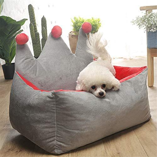 Xhtoe huisdierbed, 3 kleuren, kroon, kristal, velours voor huisdieren, zwinger, hond kat warm, bank, huisdierbed, meerdere kleuren, optie verlichting en verbetering van de slaapkwaliteit