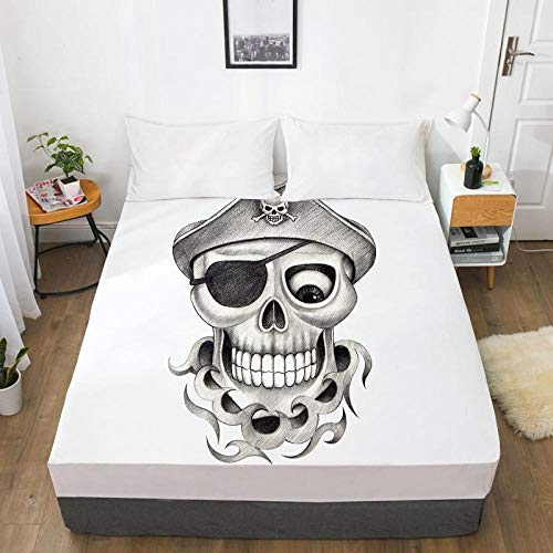 N / A Non-Iron Wrinkle sheets, 3D black and white printed fitted bed sheet, youth non-slip mattress cover, single double king -10_183cmx214cmx40cm