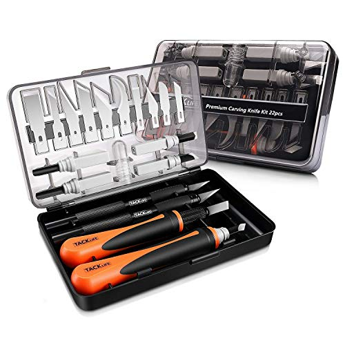Precision Craft Utility Knife Set, TACKLIFE 22PCS Sharp Scalpel Razor Knives Tool for Art, Wood & Leather Working-Stencil, Fine Point, Scoring, Scrapbooking,Chiseling Blades
