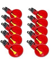 10 piezas de pezón de pollo dispensador de agua automático taza alimentador de cuenco para beber Chook Birds vasos de plástico rojo para bebedero de agua para patio trasero gallinero aves de corral
