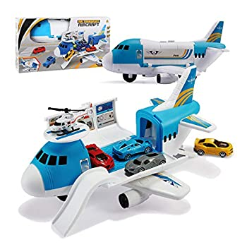 Tuko Transport Cargo Airplane Car Toy Play Set for 3+ Years Old Boys and Girls Blue