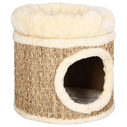 Tidyard Katzenhöhle mit Luxuriösem Kissen 31 x 33 cm Seegras Teppich Kuschelhöhle Katzenbett Beige