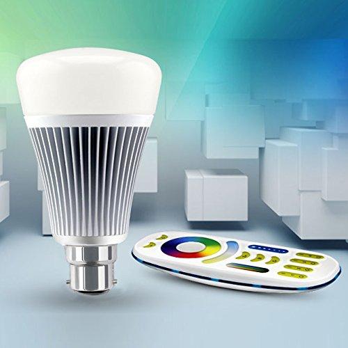 LIGHTEU, 1 x Ampoule LED WiFi avec télécommande sans fil, 8W/B22, Couleur RVB/RGB plus blanc chaud et blanc froid, intensité variable, changement de couleur avec télécommande, 2.4Ghz RF à distance, système de contrôle Android et iPhone (1 x Ampoule 8W/B22 + Télécommande) [Classe énergétique A+]