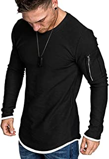 Mens Gym Muscle T-Shirts Bodybuilding Fashion Tshirt Workout Fitness Tee with Pocket
