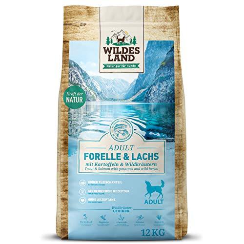 Wildes Land | Trockenfutter für Hunde | Nr. 6 Forelle & Lachs | 12 kg | mit Kartoffeln und Wildkräutern | Glutenfrei & Hypoallergen | Extra viel Fleisch | Beste Akzeptanz und Verträglichkeit