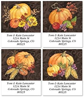 Bountiful Harvest Square Thanksgiving Return Address Labels (4 Designs) - Set of 144 1-1/2 x 1-3/4 Autumn Self-Adhesive, Flat-Sheet labels