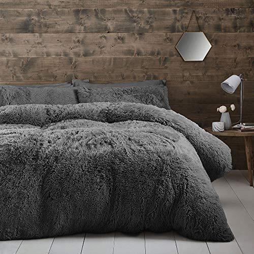 Catherine Lansfield Cuddly Deep Pile Single Duvet Set Charcoal