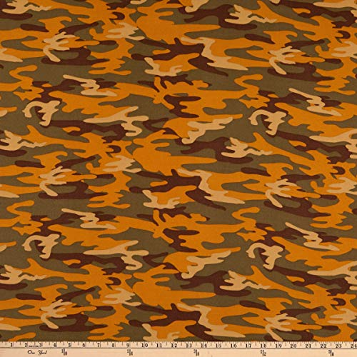 Fabric Merchants Double Brushed Poly Jersey Knit Camo Olive/Brown Fabric by the Yard