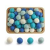 I LOVE MOM Kit Perline Colorate in Feltro,50 Pezzi Passamaneria PON PON in Pannolenci Morbido,Palline di Natale Pannolenci Colorati Morbido (-4)