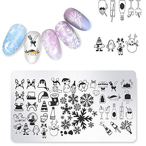 Sklepee Nail Stamp Plates set, 5Pcs Christmas Nail Art Stamping Templates, DIY Nail Art Plates Kit Template Image Plate Manicure Stencils Tools for Home Salon Use