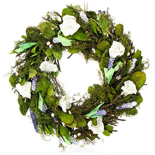 com-four® Türkranz Frühling mit Blumen - Dekorativer Tisch-Kranz - Kranz Deko mit Aufhänger - Durchmesser ca. 30 cm (lila. weiß)