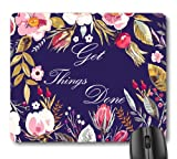 7AN.M Inspirational Quote Get Things Done Mouse Pad, Motivational Quotes Vintage Floral Wreath Art Flowers Leaves Print Navy Blue Office Decor Mouse Pads